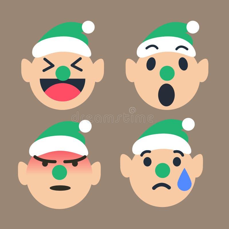El emoticon lindo del duende fijó para la estación de la Navidad, feliz, guau, enojada, grito Ilustrador del vector libre illustration