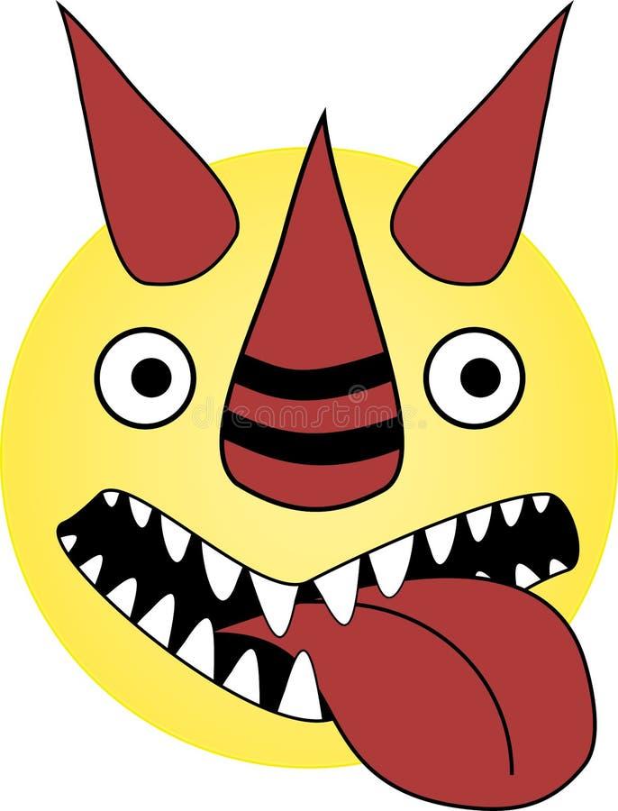 El emoticon loco del dragón con la boca abierta y el diablo sonríen imagen de archivo