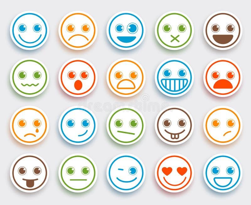 El emoticon sonriente del vector de la cara fijó en la etiqueta engomada plana blanca del icono ilustración del vector