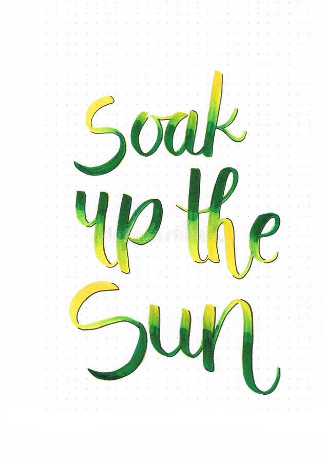 El ` empapa para arriba las letras felices de la mano del ` del sol que dicen motivar a gente libre illustration