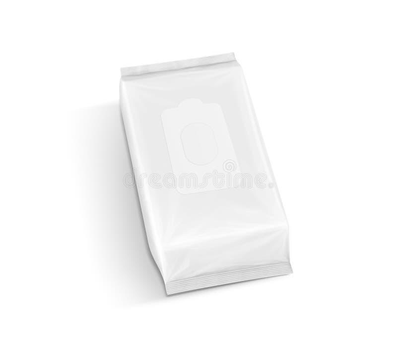 El empaquetado en blanco de papel mojó la bolsa de los trapos en la visión superior fotos de archivo