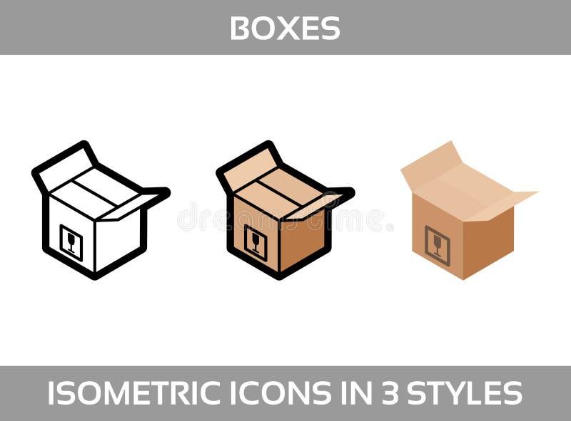 El empaquetado isométrico del ofsimple del sistema encajona iconos del vector3DIconos isométricos del color en tres estilos  libre illustration