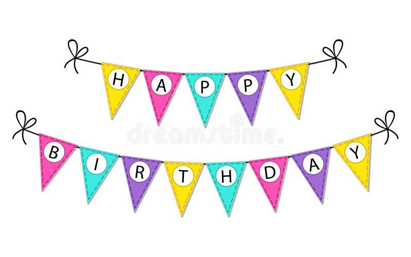 El empavesado lindo del feliz cumpleaños señala la bandera por medio de una bandera con las letras libre illustration