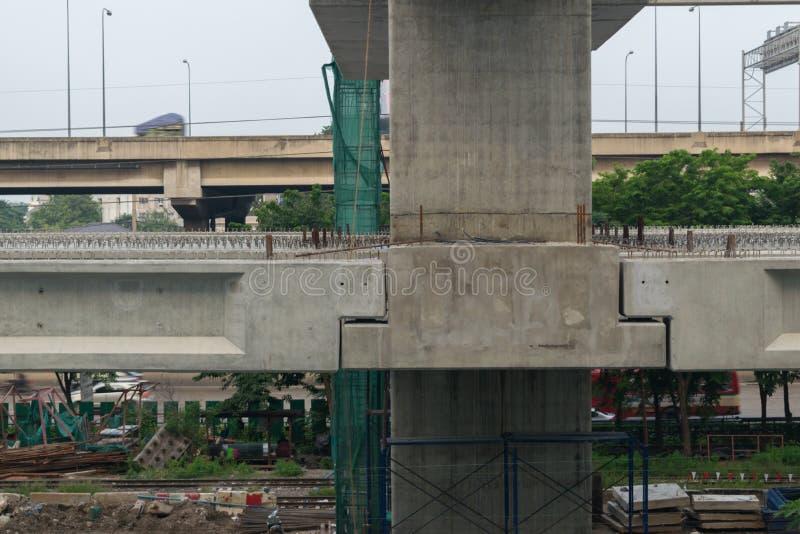 El emplazamiento de la obra del tren de cielo resalta Bangsue-Rangsit fotografía de archivo