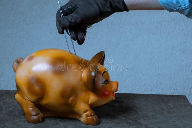 El empleado del banco roba el dinero Concepto La mano de un hombre en una camisa azul saca el dinero fuera de la hucha fotografía de archivo libre de regalías