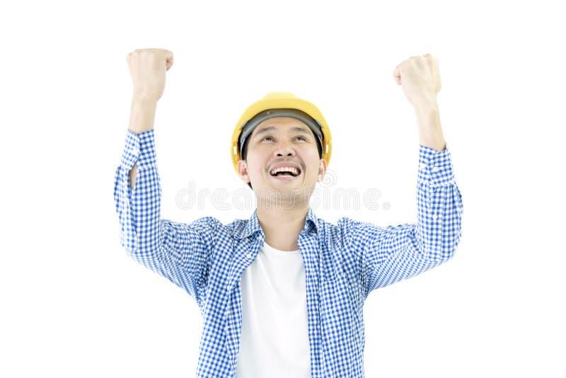 El empleado del ingeniero del hombre de negocios con la camisa azul de scott tiene sensación foto de archivo