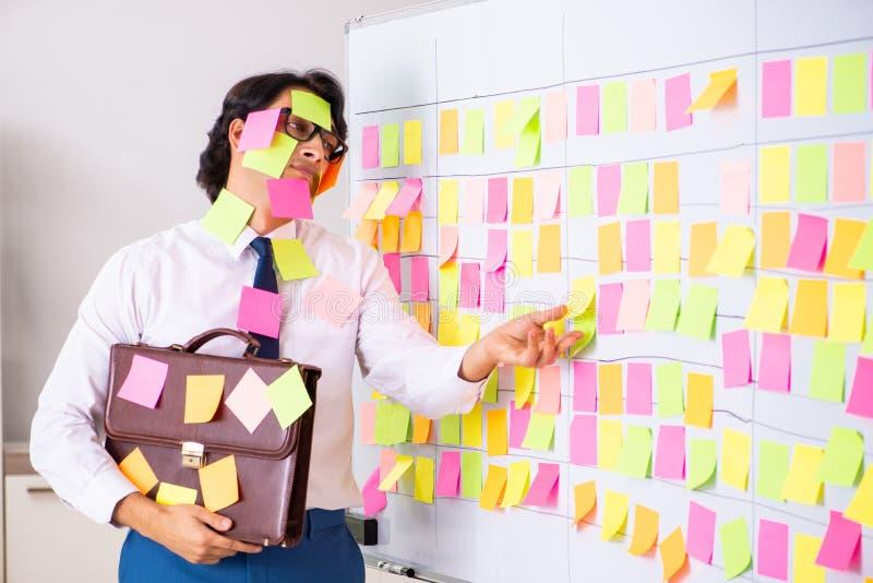 El empleado joven en concepto de las prioridades que está en conflicto fotografía de archivo libre de regalías