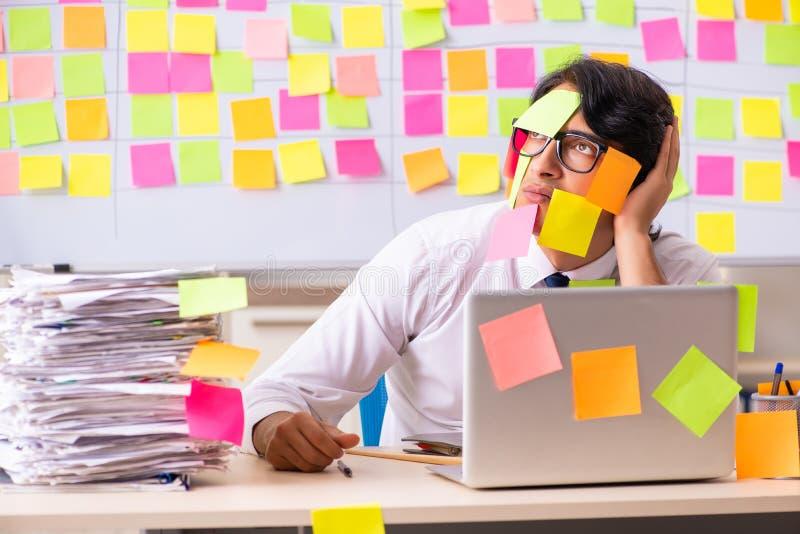 El empleado joven en concepto de las prioridades que está en conflicto foto de archivo