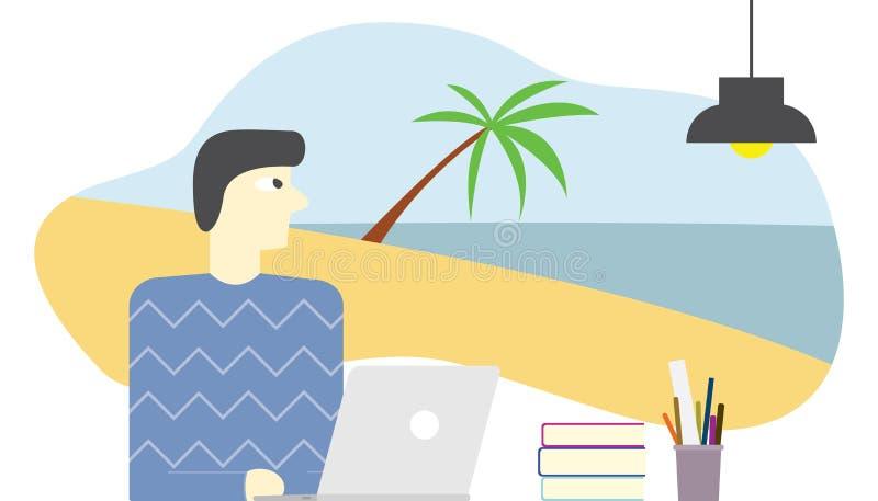El empleado se imagina o soñando día de fiesta en playa y relajándose en vector de la agua de mar stock de ilustración