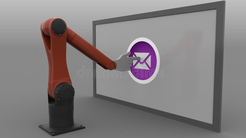 El empujar de los brazos del robot industrial envía los botones del correo Concepto del Spam o del hoja informativa representació libre illustration