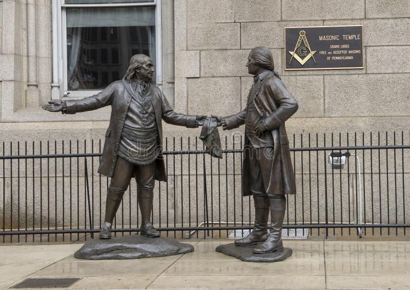 ` El ` en enlace de James West, albañiles famosos George Washington y Benjamin Frankin foto de archivo libre de regalías