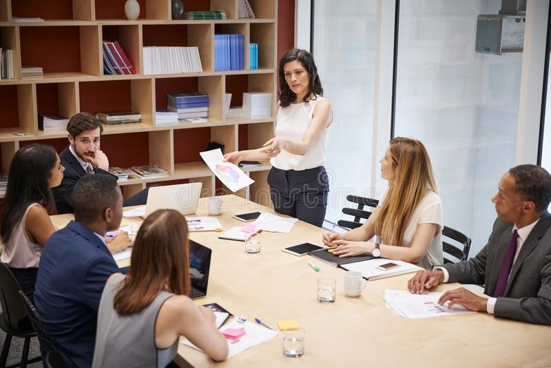 El encargado de sexo femenino se coloca con el documento en la reunión de la sala de reunión imagen de archivo