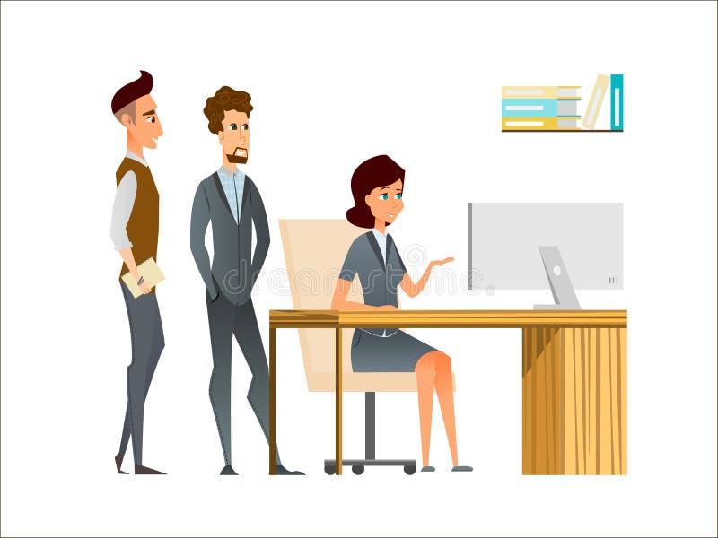El encargado y los empleados discuten en la oficina Personajes de dibujos animados del negocio en equipo en el ambiente corporati libre illustration