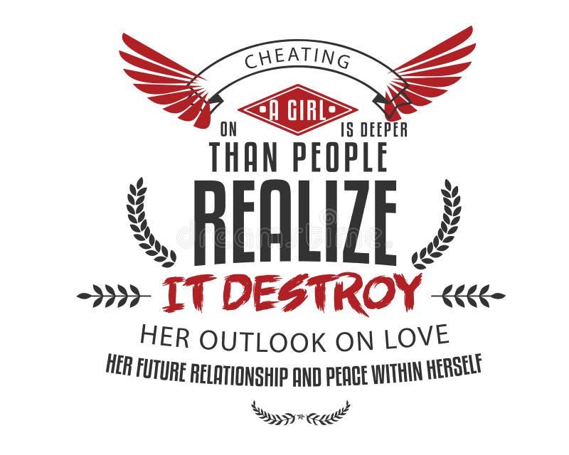El engaño en una muchacha es más profundo que la gente realiza ilustración del vector