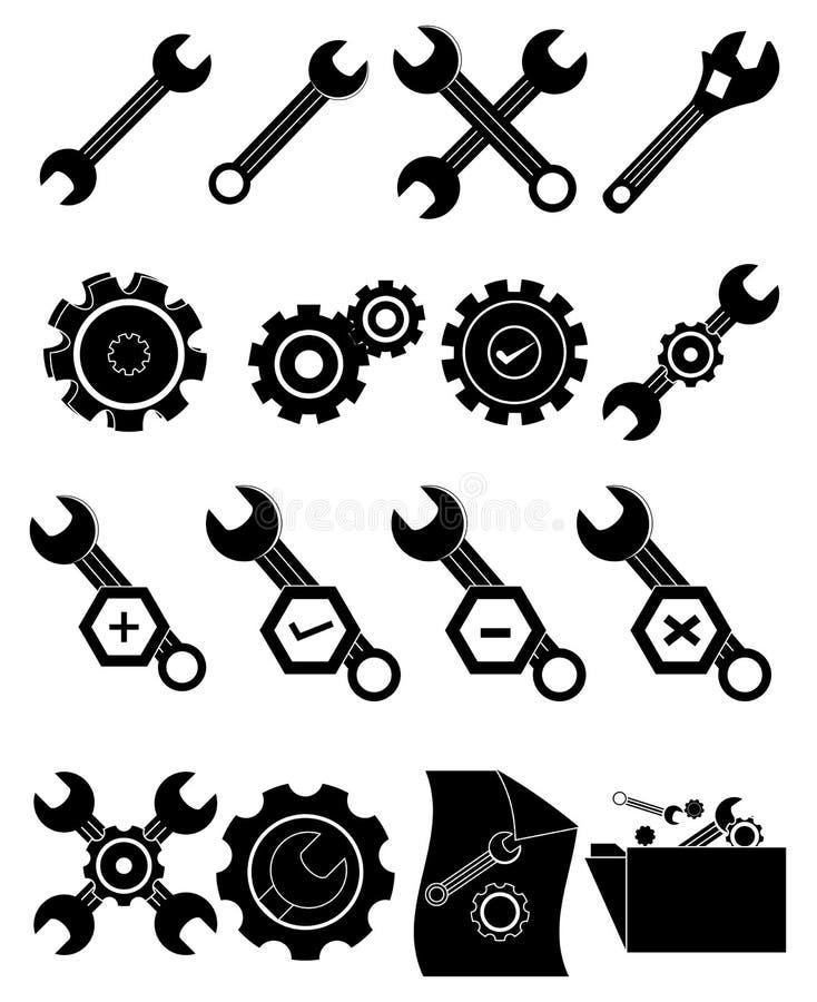 El engranaje de los ajustes equipa iconos libre illustration