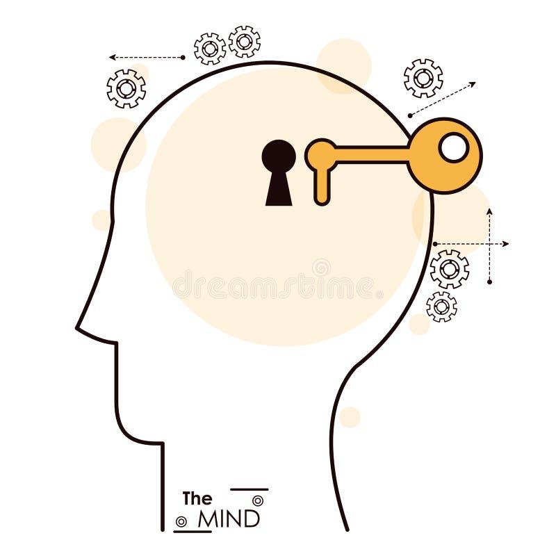 El engranaje del agujero de la cerradura de la cabeza humana de la mente libre illustration