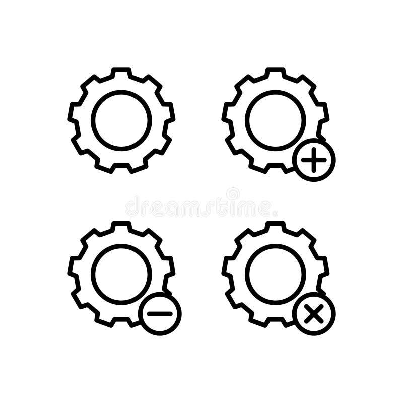 el engranaje, más, quita, iconos del signo de menos Elemento de los iconos del botón del esquema Línea fina icono para el diseño  stock de ilustración