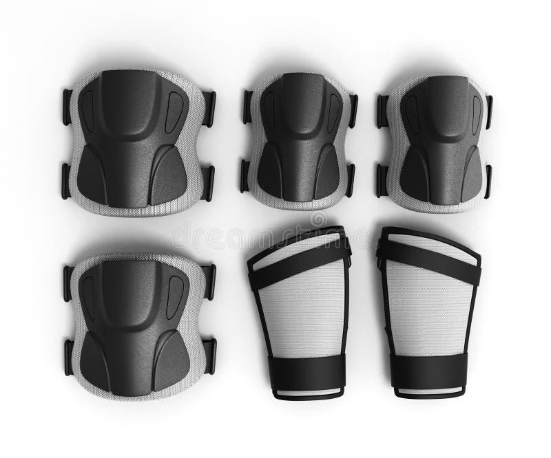 El engranaje protector para el deporte multi 3d rinde en el fondo blanco ilustración del vector