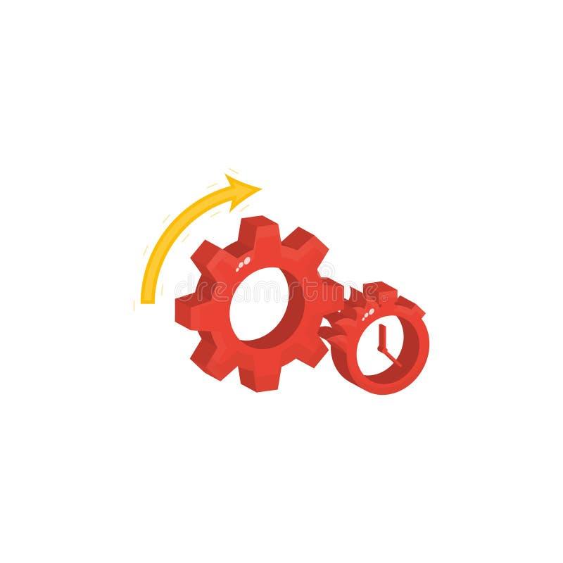 El engranaje y el cronómetro y el contador de tiempo, un símbolo del trabajo rápido y eficiente, la flecha indica la dirección de libre illustration