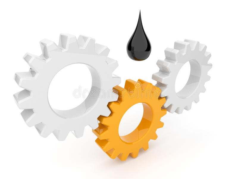El engrasar del mecanismo. Engranaje 3d. Aislado libre illustration