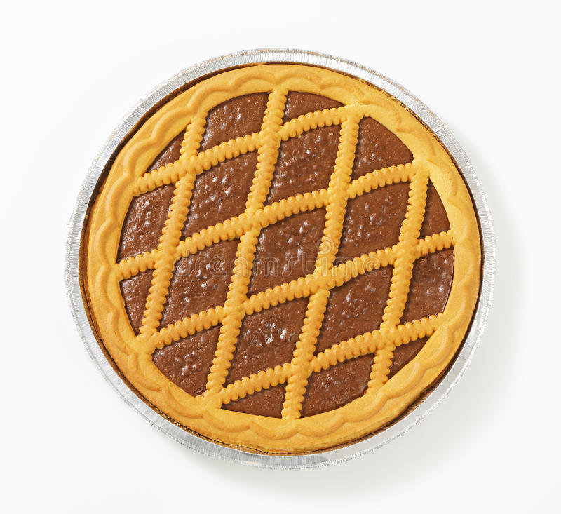 El enrejado remató la tarta del chocolate foto de archivo