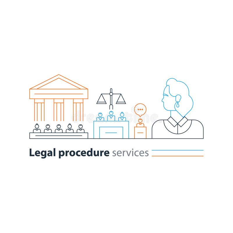 El ensayo legal del Palacio de Justicia mantiene los iconos, hombre del abogado, experto del abogado de la defensa stock de ilustración