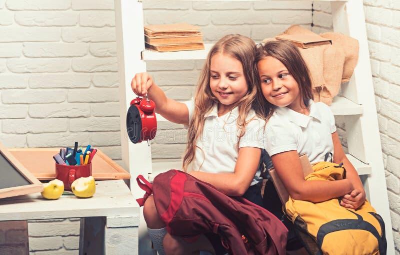 El enseñar casero y educación el enseñar casero de dos hermanas de las muchachas fotografía de archivo