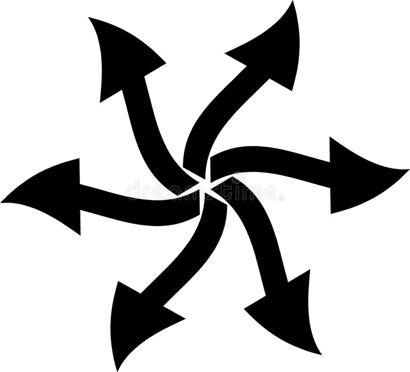 El entrar en todas las direcciones ilustración del vector