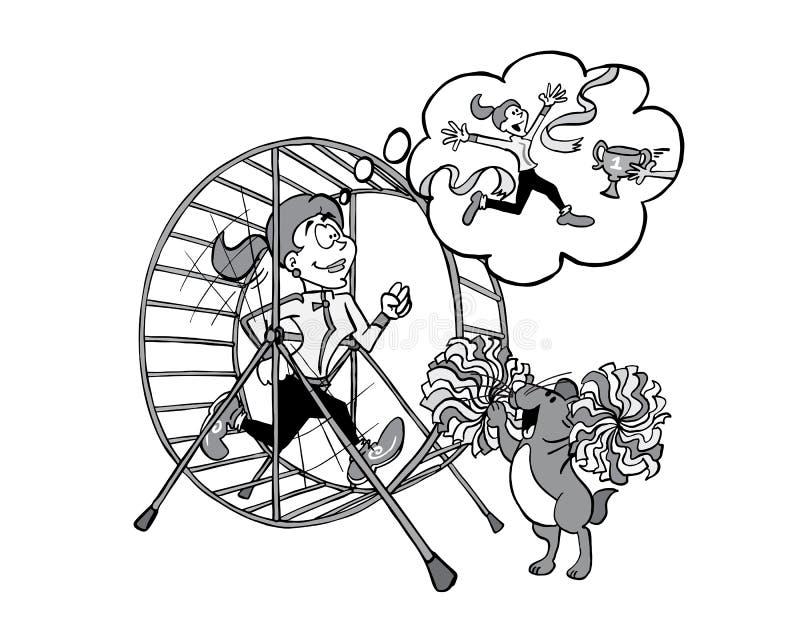 El entrenamiento de Sophie de la mujer joven dentro del hámster rueda adentro blanco y negro ilustración del vector