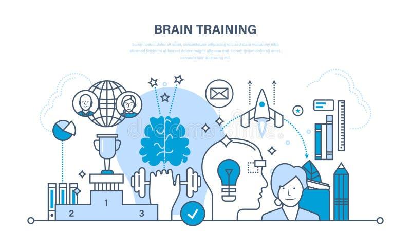 El entrenamiento del cerebro, reunión de reflexión, pensamiento creativo, educación moderna, empieza para arriba, trainin libre illustration