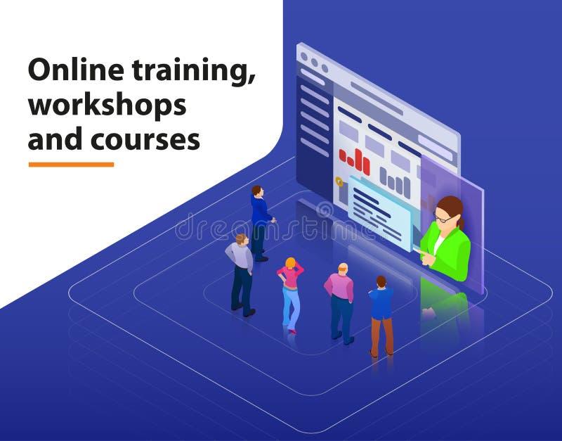 El entrenamiento en línea, los talleres y el concepto infographic isométrico del web plano 3d de la visualización de los cursos v libre illustration