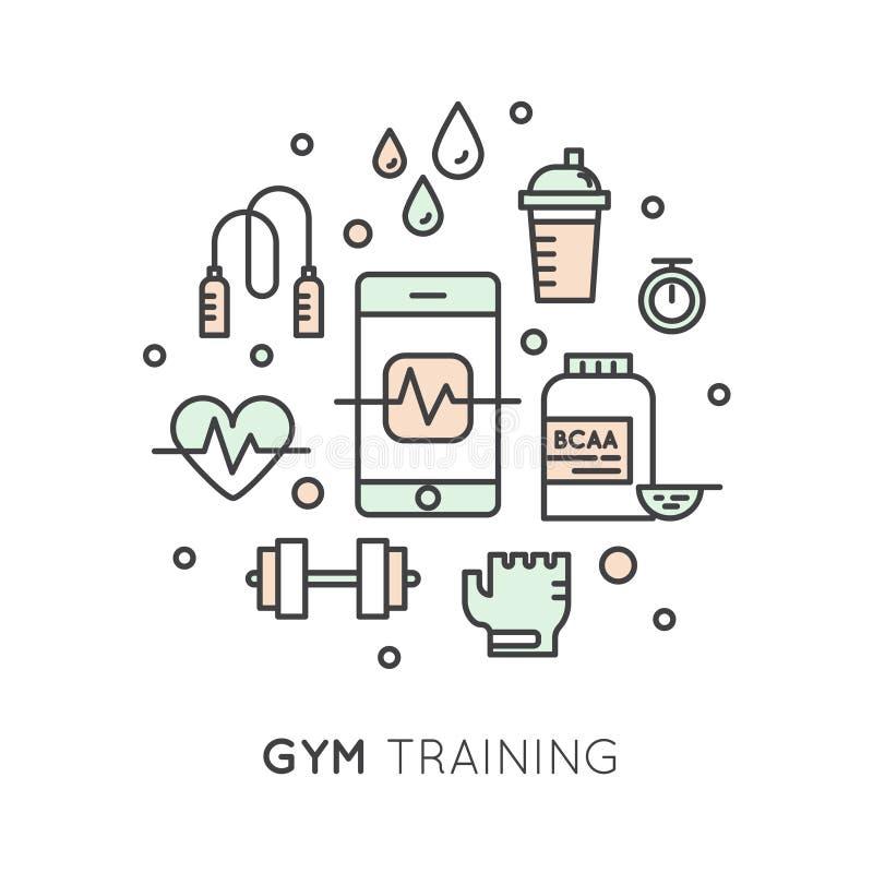 El entrenamiento, la aptitud y el entrenamiento cardiios del gimnasio se oponen ilustración del vector