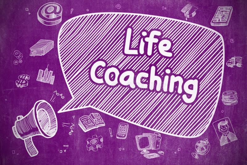 El entrenar de la vida - ejemplo de la historieta en la pizarra púrpura stock de ilustración