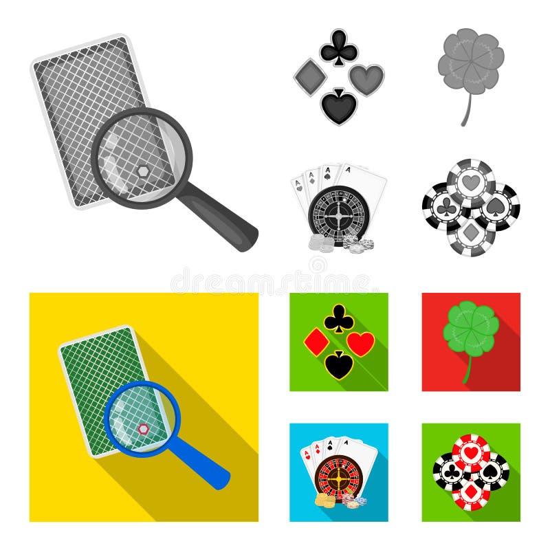 El entusiasmo, el casino, el juego y el otro icono del web en estilo monocromático, plano Engaño, entretenimiento, reconstrucción ilustración del vector