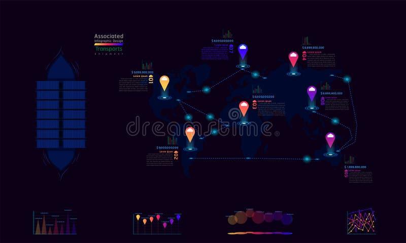 El envío transporta diseño infographic de la compañía de la fábrica del mapa del mundo del punto asociado de la marca con ve libre illustration