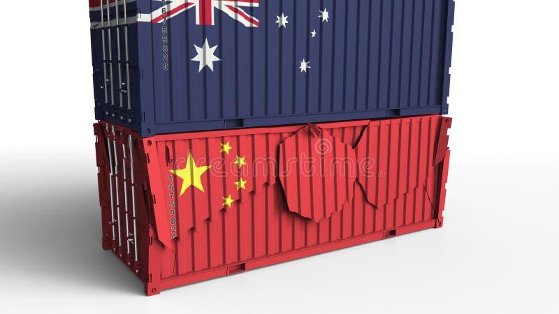 El envase con la bandera de Australia rompe el contenedor para mercancías con la bandera de China Guerra comercial o conflicto ec libre illustration