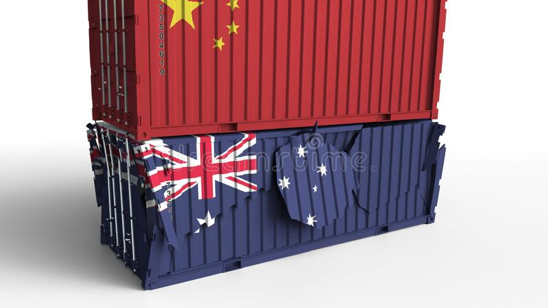 El envase con la bandera de China rompe el contenedor para mercancías con la bandera de Australia Guerra comercial o conflicto ec stock de ilustración