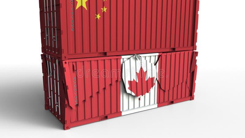 El envase con la bandera de China rompe el contenedor para mercancías con la bandera de Canadá Guerra comercial o conflicto econó ilustración del vector