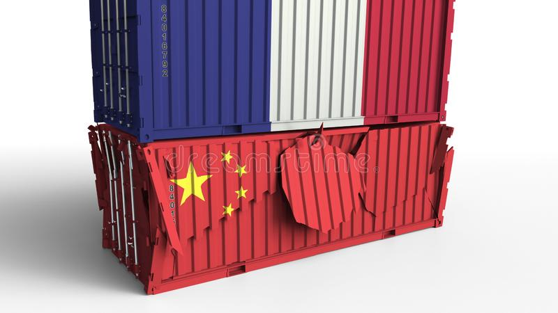 El envase con la bandera de Francia rompe el contenedor para mercancías con la bandera de China Guerra comercial o conflicto econ ilustración del vector