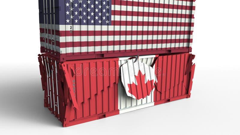El envase con la bandera de los E.E.U.U. rompe el contenedor para mercancías con la bandera de Canadá Guerra comercial o conflict ilustración del vector