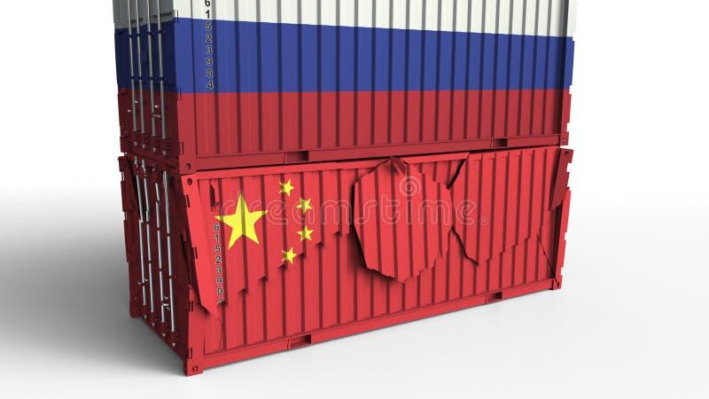 El envase con la bandera de Rusia rompe el contenedor para mercancías con la bandera de China Guerra comercial o conflicto económ ilustración del vector