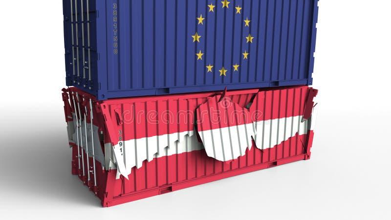 El envase con la bandera de la unión europea rompe el contenedor para mercancías con la bandera de Austria Guerra comercial o con libre illustration