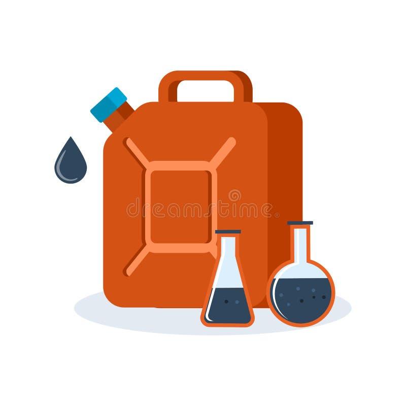 El envase rojo para el combustible llenó de la gasolina, un producto derivado del petróleo ilustración del vector