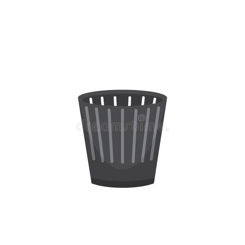 El envase y el cubo de la basura de la basura del cubo de la basura reciclan vector del símbolo ilustración del vector