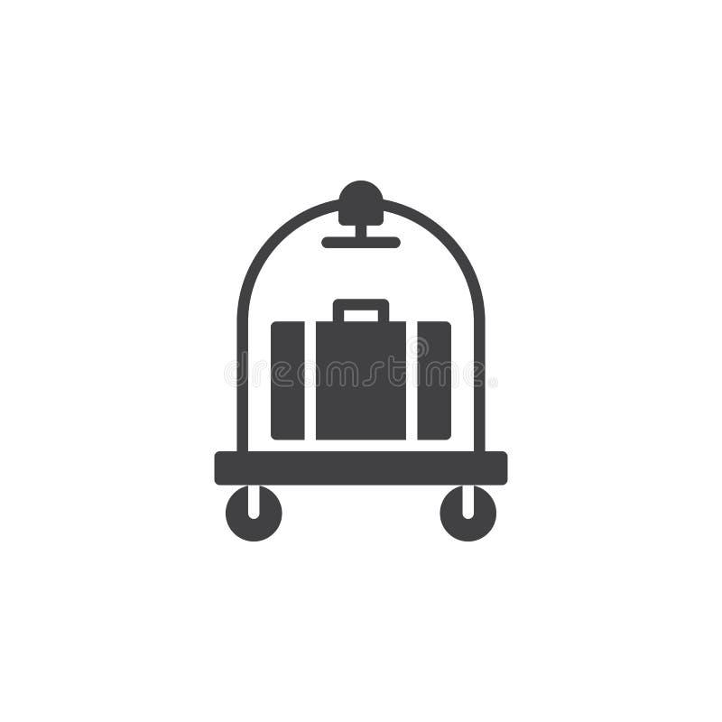 El equipaje, vector del icono de la carretilla del equipaje, llenó la muestra plana, pictograma sólido aislado en blanco libre illustration