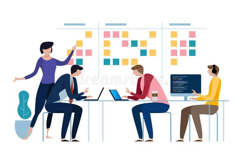 El equipo ágil del negocio de funcionamiento del programador y hace un cierto planeamiento en el tablero del melé Whiteboard y tr libre illustration