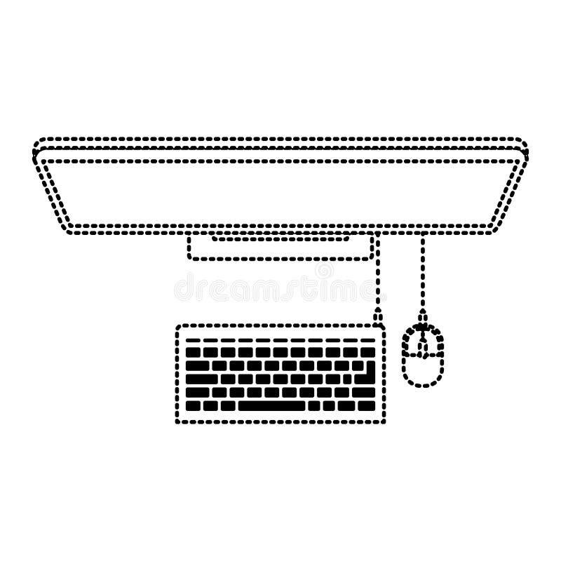 El equipo de escritorio en la visión superior en negro punteó contorno libre illustration