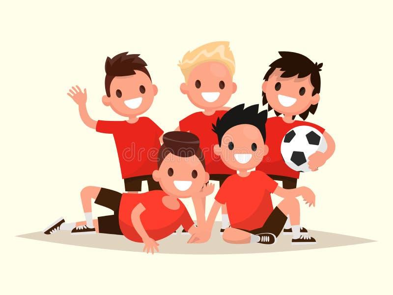 El equipo de fútbol de los niños Retrato de jugadores de fútbol jovenes Vect ilustración del vector