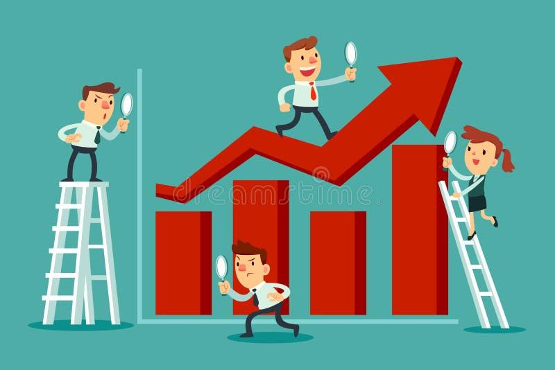 El equipo de hombres de negocios analiza el gráfico de barra stock de ilustración