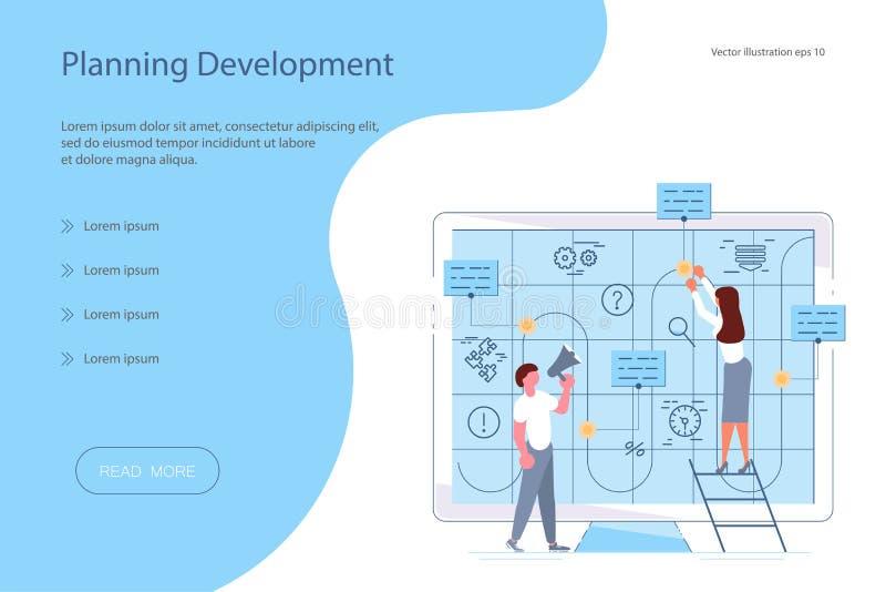 El equipo de hombres de negocios jovenes dibuja estrategia empresarial stock de ilustración